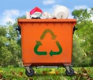Garbage bin. Recycled sign on garbage bin Royalty Free Stock Photo