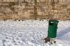 Garbage bin on the Vistula embankments in Krakow, Poland Stock Images
