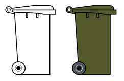 Garbage bin with wheels. Vector art of a Garbage bin with wheels Stock Photo