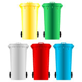 Garbage bins. With four different colors over white Royalty Free Stock Image