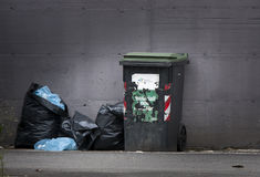 Garbage bins and bags. Separate collection. Royalty Free Stock Photos