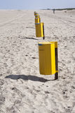 Garbage bins on the beach in the Netherlands Stock Photography