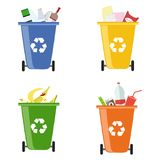 Garbage bins. Containers for different garbage. Separate collection of garbage. Flat design, vector illustration, vector Royalty Free Stock Photography