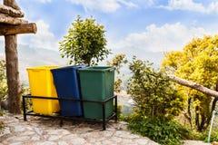 Garbage bins on mountain Royalty Free Stock Photos