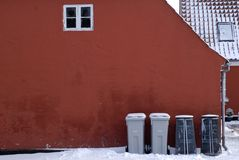 Garbage bins in a row Royalty Free Stock Image