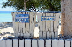 Garbage bins. Separate bins for garbage on the island of Gili Trawangan, Indonesia Royalty Free Stock Images