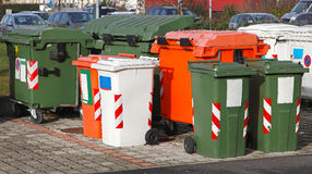 Garbage bins. Sorting and recycling garbage bins and dumpster royalty free stock photography