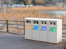 Garbage bins for sorting waste. Tokyo - February 4, 2015: Garbage bins for sorting waste Feb 4, 2015, Tokyo, Japan Royalty Free Stock Images