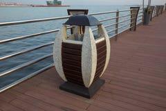 Garbage bins at Surfer Paradise beach boulevard . A litter bin in a park. garbage bin in the park. Baku boulevard at the Caspian Sea embankment. Baku is the stock images