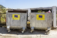 Garbage bins with the symbols of the European Union Stock Photography