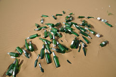 Garbage bottles. Garbage glass bottles in the desert Stock Photo