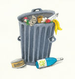 Garbage Can. Illustration of grey metal garbage can Stock Photography