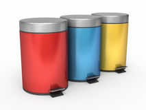 Garbage Can. 3d render Garbage Cans ( on white and clipping path Stock Photo