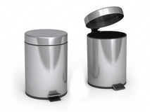 Garbage Can. 3d render Garbage Cans ( on white and clipping path Stock Photography