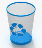 Garbage can. Blue recycled garbage can, 3D render Stock Image