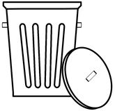 Garbage can. Outline of garbage can or bin on white background - vector Royalty Free Stock Image