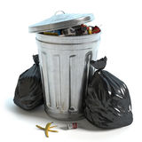 Garbage Can and bags. 3d illustration of a garbage can and trash Stock Photography