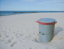 Garbage can at the beach Stock Image