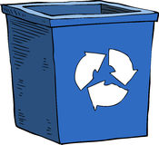 Garbage can. Cartoon blue recycle garbage can Royalty Free Stock Photos