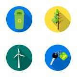 A garbage can, a diseased tree, a wind turbine, a key to a bio car.Bio and ecology set collection icons in flat style Stock Photos