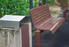 Garbage can, dustbin, rubbish-bin, Trashcan in park Stock Image