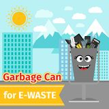 Garbage can with e-waste trash. And monster face on the street, vector illustration Stock Image