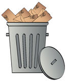Garbage can with envelopes. Envelopes tossed in a garbage can - junk mail - vector vector illustration