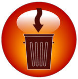 Garbage can icon. Trash can button or icon with arrow - illustration Royalty Free Stock Image