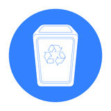 Garbage can icon in black style isolated on white background. Trash and garbage symbol stock vector illustration. Royalty Free Stock Photo