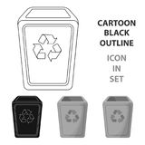 Garbage can icon in cartoon style isolated on white background. Trash and garbage symbol stock vector illustration. Stock Photos