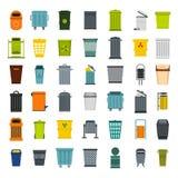 Garbage can icon set, flat style Royalty Free Stock Photos