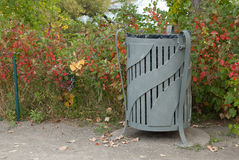 Garbage can in park Royalty Free Stock Photos