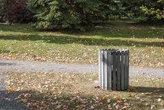 Garbage can in park Royalty Free Stock Image