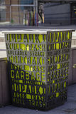 Garbage can. On the pavemant . Garbage with subtitles in different languages Royalty Free Stock Photos