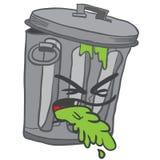 Garbage can puke. Cartoon illustration isolated on white Royalty Free Stock Photo
