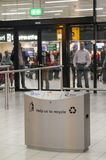 Garbage can in the Schiphol Airport, Amsterdam, Netherlands. Stock Photos