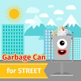 Monster face garbage can with street trash. Garbage can with street trash and monster face on the street, vector ilustration Royalty Free Stock Image