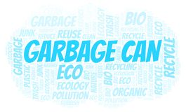 Garbage Can word cloud. Wordcloud made with text only royalty free illustration