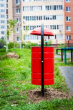 Garbage can in the yard. Of residential house Stock Image