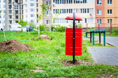 Garbage can in the yard. Of residential house Stock Photo