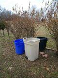 Garbage Cans. Empty Cans After Disposal Royalty Free Stock Photos