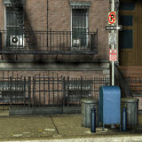 Garbage cans in front of a New York house. 3D Rendering Garbage cans in front of a New York house Stock Image