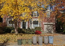Garbage cans full of collected leaves Royalty Free Stock Images