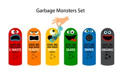 Garbage cans for kids Royalty Free Stock Images