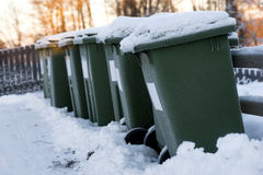 Garbage cans in a row Stock Photography