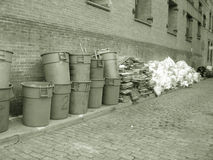 Garbage cans in sepia. Nyc royalty free stock photo