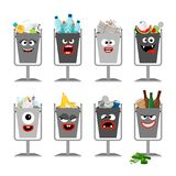 Garbage cans with trash for kids. Trash cans with cute monster faces, vector icons set Stock Photography