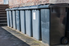 Garbage cans. Trash cans in a street Stock Image