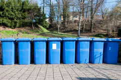 Garbage cans. Trash cans in a street Royalty Free Stock Images