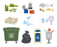Garbage cans and trash on white background. Ecology and recycle concept. Vector illustration Stock Photo